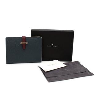 Globetrotter Blue & Burgundy Strap Leather Passport Sleeve