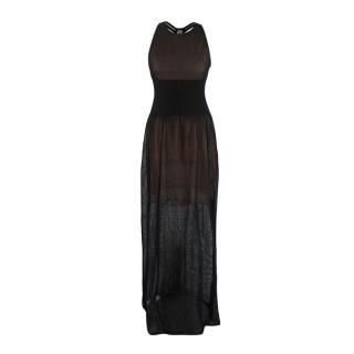 Alaia Black & Nude Crocheted Maxi Dress