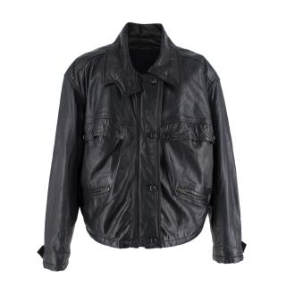 Lauren Baccall Bespoke Black Leather Handmade Jacket with Wool Lining
