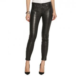J Brand Black L8001 stretch-leather skinny pants