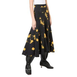 Proenza Schouler Black & Yellow Rose Imprint Midi Skirt