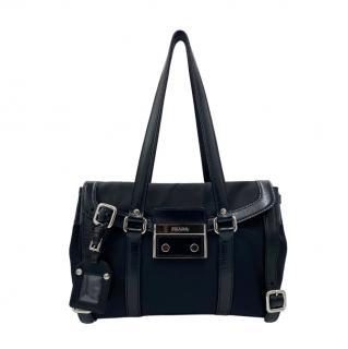 Prada Black Leather Trim Nylon Vintage Sound-Lock Bag