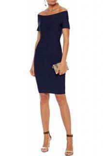 Herve Leger Blue Off-Shoulder Bandage Mini Dress