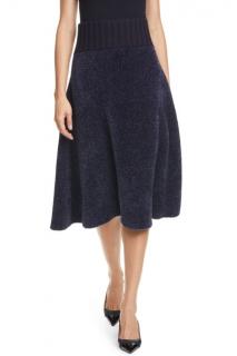 Tory Burch Navy Lurex Sweater Midi Skirt