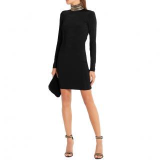 Pierre Balmain Black Chain Neck Long Sleeve Mini Dress