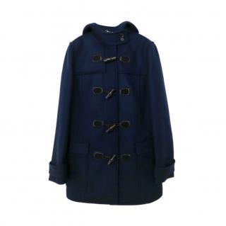 Gucci Blue Wool Hooded Duffle Coat