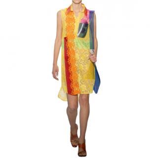 Christopher Kane Multicoloured Lace PVC Detail Runway Dress