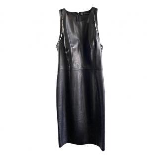 Versace Black Leather Sleeveless Midi Dress
