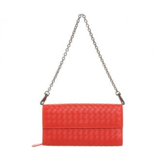 Bottega Veneta Red Intrecciato Leather Small Chain Bag