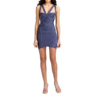 Herve Leger China Blue Cut-Out Mini Bandage Dress