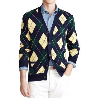 Polo Ralph Lauren Men's S Green & Yellow Argyle Knit Cardigan