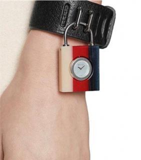 Gucci Constance Leather Padlock Bangle Watch