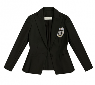Dior Black Tailored Wool Jacket with Sequin Houndstooth Patch