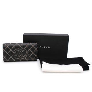 Chanel Wild Stitch Black & Beige Leather Wallet