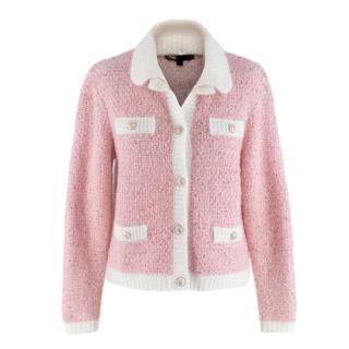 Maje Pale Pink Fancy Lurex Knit Cardigan