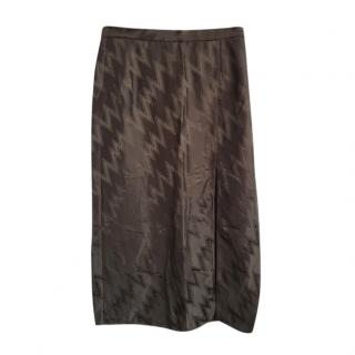 Christopher Kane Brown ZigZag Print Split Skirt