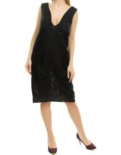 Alessandro Dell'Acqua Black Striped Jacquard V-Neck Dress