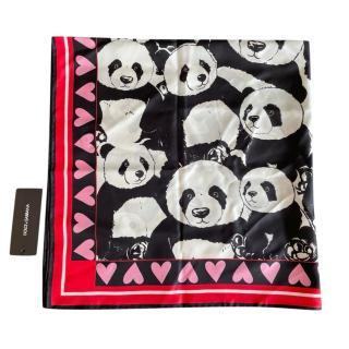 Dolce & Gabbana Panda Print Silk Scarf