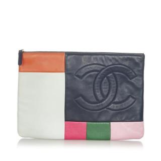 Chanel Patchwork Lambskin Leather Pouch