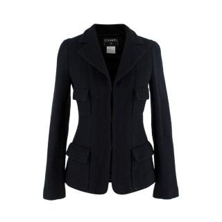 Chanel Black Wool Fitted Herringbone Tailored Jacket