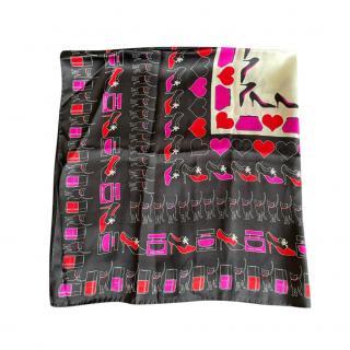 Dolce & Gabbana Black Icon Print Silk Scarf