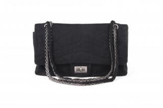 Chanel Black Croc Embossed 2.55 Jersey Reissue Flap Bag