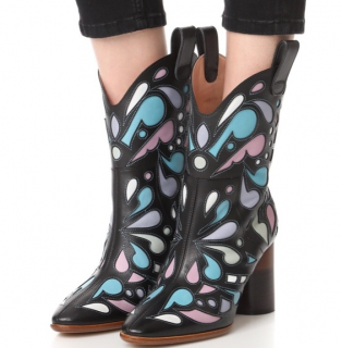 Maison Margiela Laser-Cut Leather Western Boots