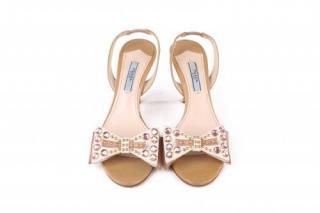 Prada Nude Slingback Sandals with Crystal Studded Bow