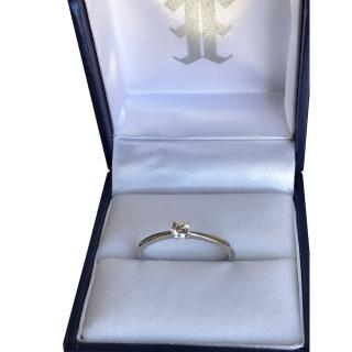 Ehthele 18ct White Gold Brilliant Cut Thin Solitaire Ring - Size N