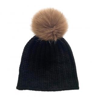 360 Cashmere Raccoon Fur Pom Pom Cashmere Beanie Hat