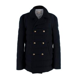Moncler Gamme Bleu Navy Cashmere Padded Double Breasted Jacket