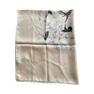 Dolce & Gabbana Beige Silk Bird Print Scarf