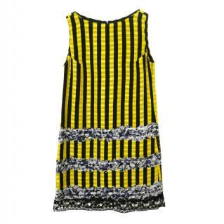 Anna Sui Yellow & Black Striped Jacquard Sleeveless Dress