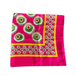 Dolce & Gabbana Pink & Green Cupcake Print Silk Scarf