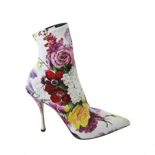 Dolce & Gabbana White Floral Print Stretch Sock Boots