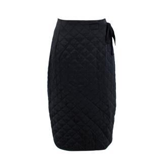 Celine Black Quilted Satin Pencil Skirt
