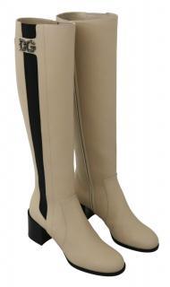 Dolce & Gabbana Beige & Black Knee Boots