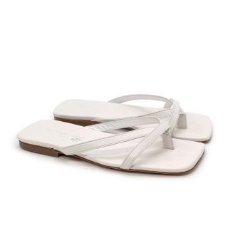 By Far Deni White Leather Flat Sandals