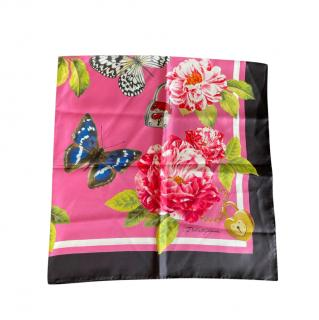 Dolce & Gabbana Butterfly Locket Print Floral Scarf