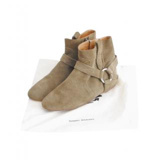 Isabel Marant Beige Suede Ankle Boots