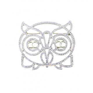 Chanel Crystal Embellished Owl Brooch