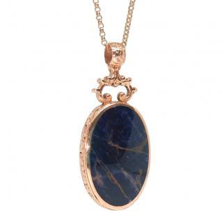 Bespoke Rose Gold Vintage Jasper & Blue John Pendant Necklace
