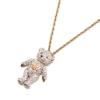 Vivienne Westwood Crystal Teddy Bear Pendant Gold Chain Necklace