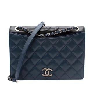 Chanel Navy Quilted Leather Single Flap Bag with Aged Hardware
