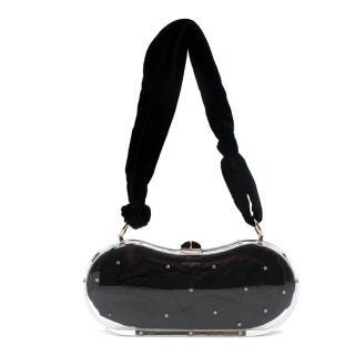 Yves Saint Laurent Hard Case Black Crystal Embellished Shoulder Bag