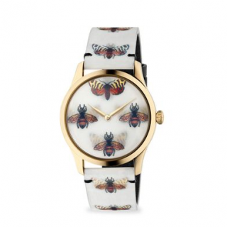 Gucci G-timeless Gold Tone 38mm Bees And Butterfly Hologram Watch
