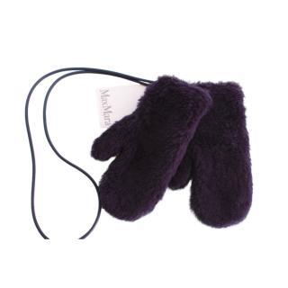 Max Mara Alpaca Wool Blend Navy Teddy Gloves