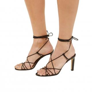 Jimmy Choo Tao Black Wrap Around Leather Heeled Sandals