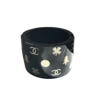 Chanel Black Perspex Mother Of Pearl Inlaid Cuff