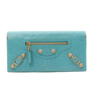 Balenciaga Turquoise Leather City Flap Wallet